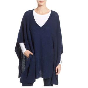 Halogen Navy Blue cashmere Poncho O/S